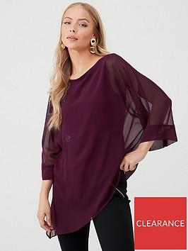 wallis-asymmetrical-slash-neck-blouse-berry