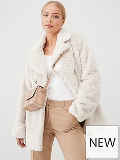 wallis-posh-teddy-coat-cream