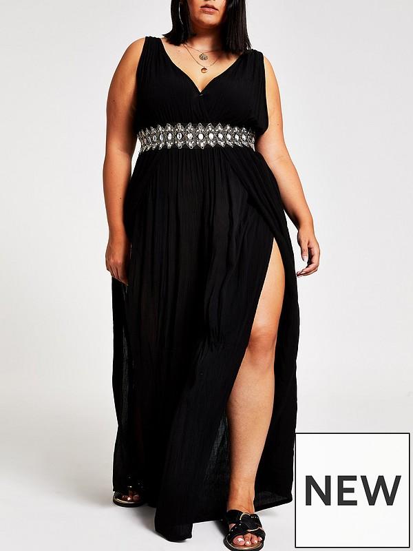 latest discount attractive colour good reputation Ri Plus Diamante Waist Plunge Jumpsuit-black