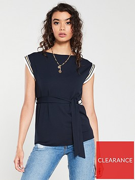 river-island-river-island-taped-trim-tie-waist-tank-top-navy