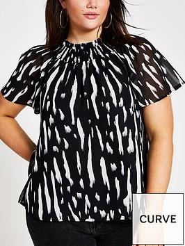 ri-plus-ri-plus-mono-print-frill-neck-shell-top-black