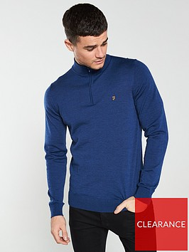 farah-soft-knit-quarter-zip-jumper-blue