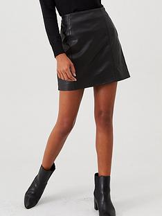 river-island-leather-mini-skirt-black
