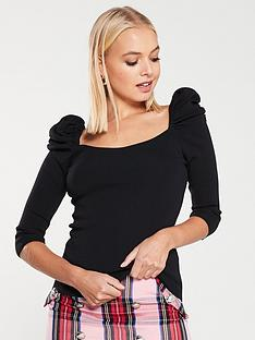 river-island-river-island-puff-sleeve-square-neck-top--black