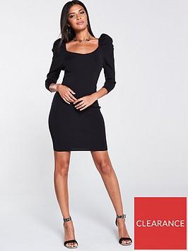 river-island-puff-sleeve-dress-black