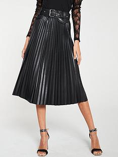 river-island-river-island-faux-leather-pleated-belt-midi-skirt-black