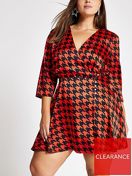 ri-plus-ri-plus-dogtooth-wrap-mini-dress-red