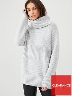 v-by-very-roll-neck-chunky-rib-knit-jumper-grey