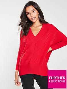 river-island-v-neck-knitted-jumper-red