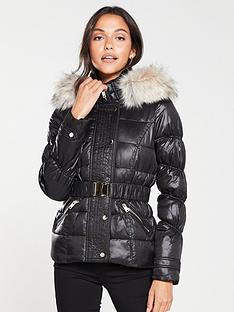 river-island-river-island-quilted-sleeve-padded-jacket--high-shine-black
