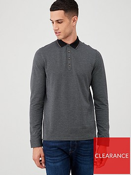 ted-baker-long-sleeved-striped-polo-shirt-grey