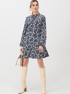 v-by-very-tie-neck-mini-trapeze-dress-floral-print