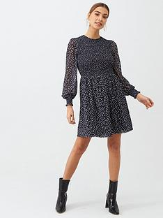 v-by-very-smocked-balloon-mesh-sleeve-dress-polka-dot