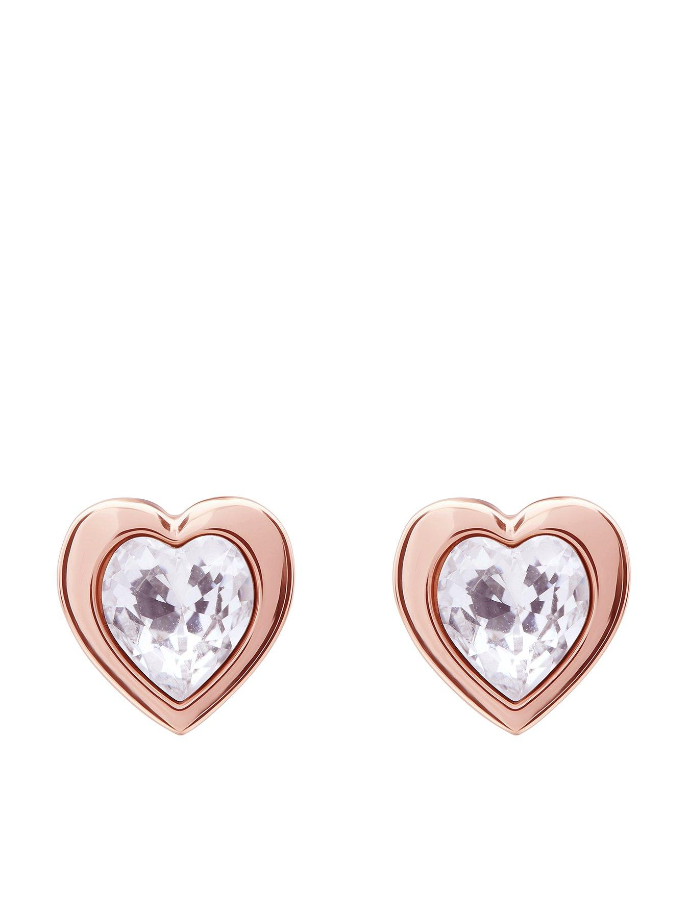 Fan effect love heart earring studs 925 sterling silver mix n match