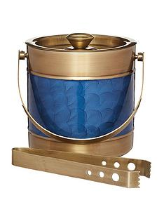 barcraft-barcraft-stainless-steel-blue-and-brass-finish-ice-bucket-with-tongs