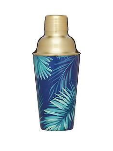 barcraft-brass-finish-stainless-steel-tropical-leaves-cocktail-shaker