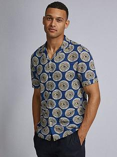 burton-menswear-london-burton-short-sleeve-tile-print-shirt-blue