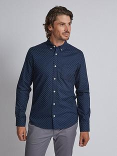 burton-menswear-london-burton-long-sleeve-dot-print-oxford-shirt-navy