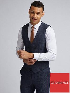 burton-menswear-london-burton-grindle-check-slim-suit-waistcoat-navy
