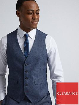 burton-menswear-london-burton-textured-slim-suit-waistcoat-blue