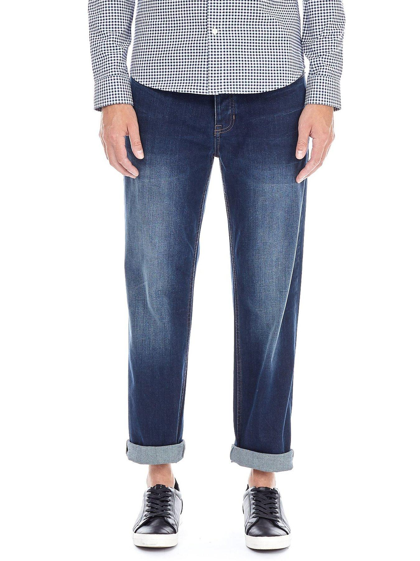 Just Cavalli Ripped Distressed Jeans with Leather Patches Blue $420-Now $128