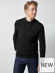 burton-menswear-london-burton-knitted-polo-top-black