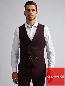 burton-menswear-london-burton-gingham-slim-suit-waistcoat-burgundy