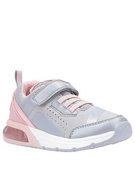geox girls spaceclub strap trainers - grey/pink