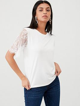 v-by-very-floral-lace-sleeve-top-ivory