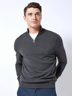 burton-menswear-london-burton-half-zip-knit-charcoal