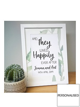 personalised-happily-ever-after-a4-framed-print