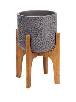 petal-print-pot-on-wooden-legs-dark-grey