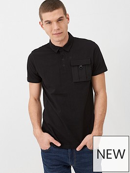 v-by-very-utility-pocket-polo-shirt-black