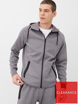very-man-textured-zip-through-hoodie-grey