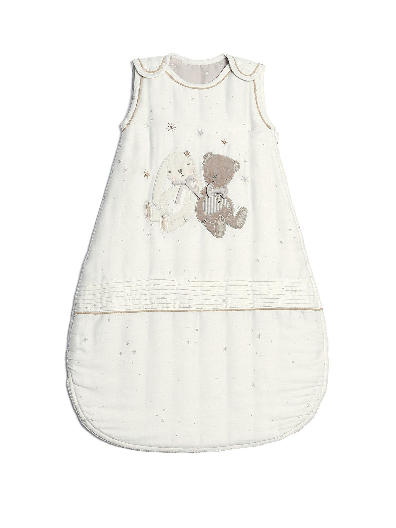 Baby Sleeping Bag with Zip Fastening 0-6 Months Moon Embroidery White 2.5 Tog Wrap Bag