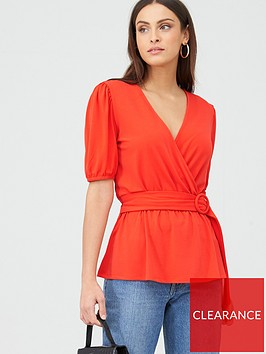 v-by-very-fixed-wrap-puff-sleeve-top-red
