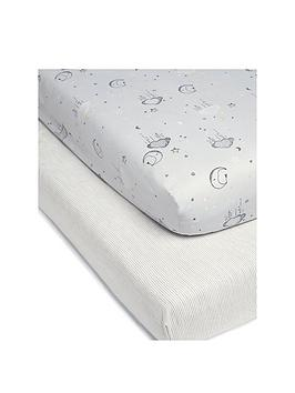 mamas-papas-dream-upon-a-cloud-100-cotton-cot-bed-fitted-sheets-ndash-pack-of-2