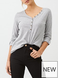 v-by-very-the-three-quarter-sleeve-henley-t-shirt-grey