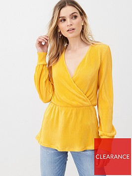 v-by-very-plisse-wrap-top-mustard