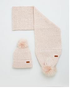 barbour-pom-pom-beanie-and-scarf-set-pink