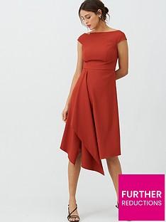 v-by-very-riviera-draped-asymmetric-hem-dress-rust