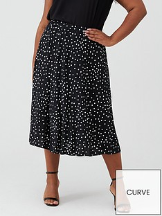 oasis-curve-polka-dot-pleated-skirt-mono