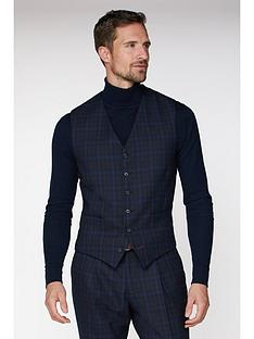 jeff-banks-jeff-banks-jaspe-check-ivy-league-waistcoat-in-slim-fit-blue