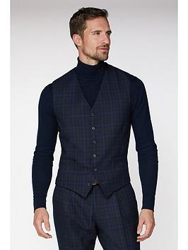 jeff-banks-jeff-banks-jaspe-check-ivy-league-waistcoat-in-slim-fit-blue