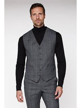 jeff banks jeff banks check ivy league waistcoat in slim fit - grey