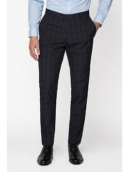 jeff banks jeff banks check brit suit trousers in super slim fit - blue