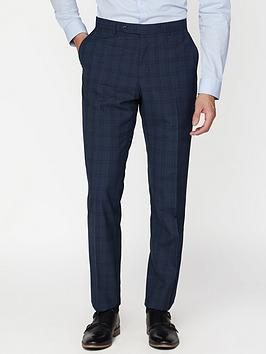 jeff banks check soho suit trousers in modern regular fit - blue