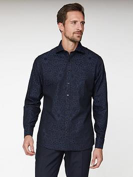 jeff-banks-large-floral-jacquard-tailored-fit-shirt-black