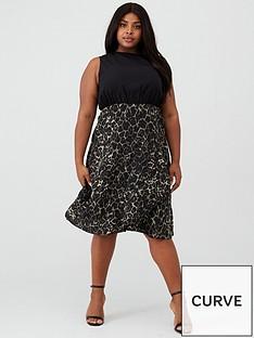 ax-paris-curve-two-in-one-animal-skirt-dress-khaki