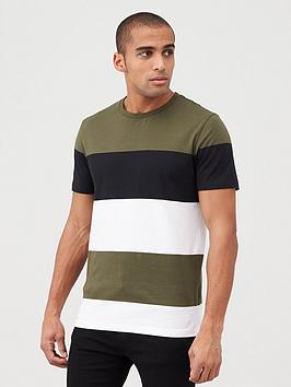 very-man-block-stripe-t-shirt-khaki